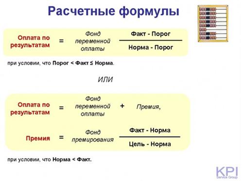 Расчетные формулы для KPI -2